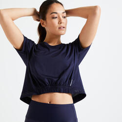 T-shirt fitness cardio training femme bleu marine 520