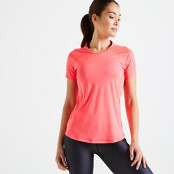 Getailleerd T-shirt voor cardiofitness dames roze