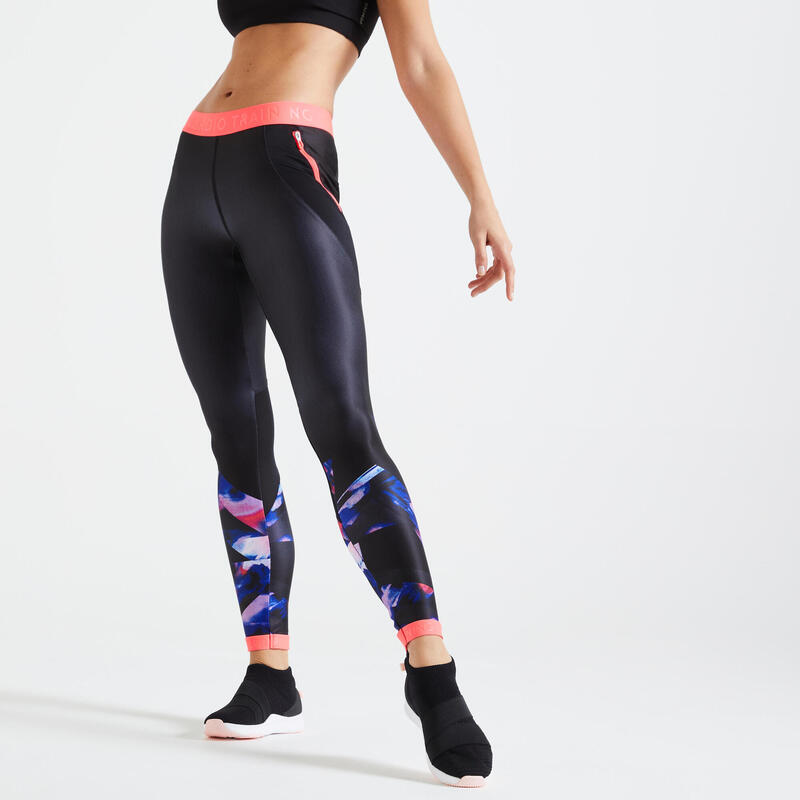 Fitness Leggings with Pocket - Black/Pink