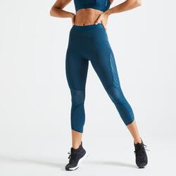 Legging taille haute Fitness court et gainant bleu canard