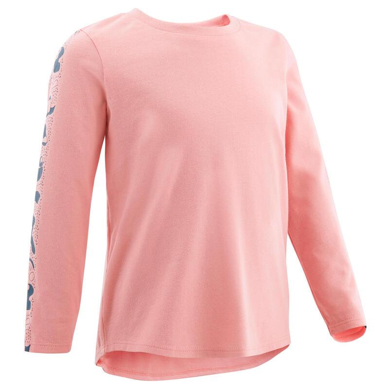 Dětské tričko 100 s dlouhým rukávem na cvičení růžové