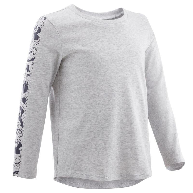Shirt met lange mouwen voor kleutergym grijs/blauw