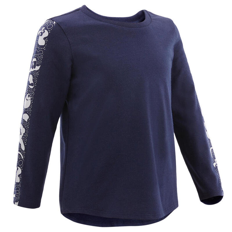 Shirt met lange mouwen voor kleutergym 100 blauw/wit