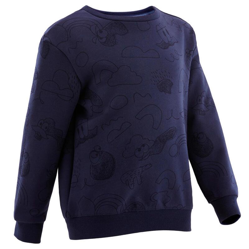 Kindersweater voor baby- en kleutergym Decat'oons marineblauw met print