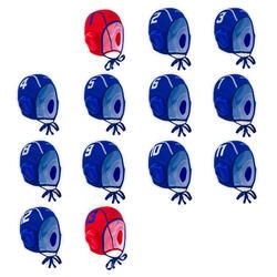 Set van 13 waterpolocaps voor volwassenen 900 blauw