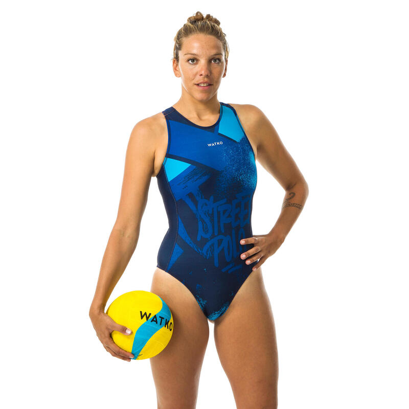 Bañador Deportivo Waterpolo Mujer Watko Cremallera Azul Street