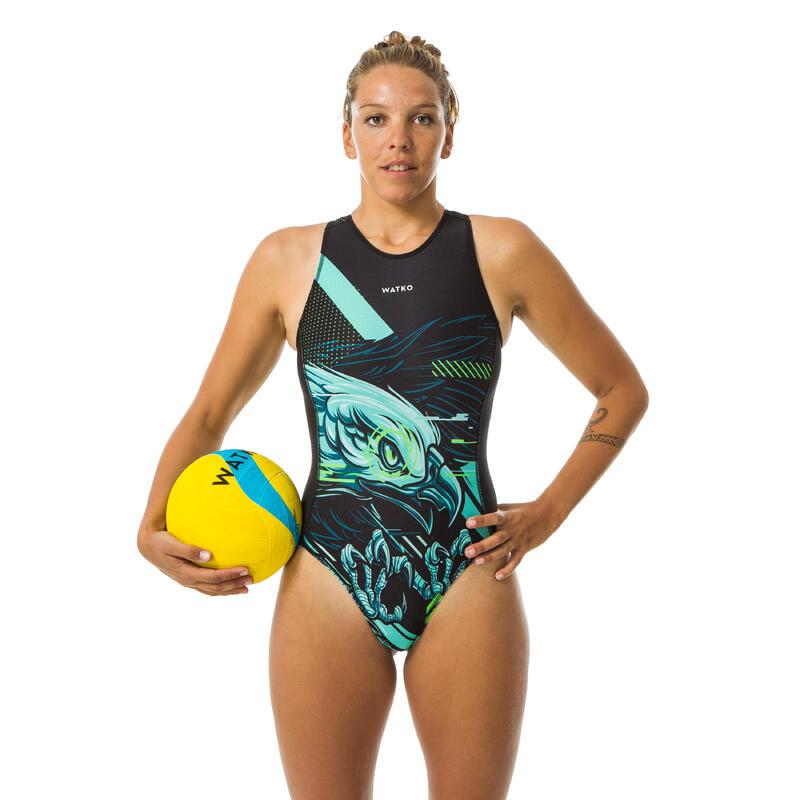 Bañador Deportivo Waterpolo Mujer Watko Cremallera Negro Eagle