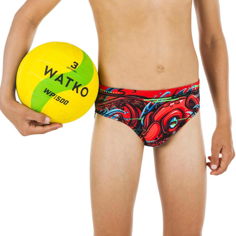 Bañador Slip Waterpolo Watko Octopus Niño Rojo