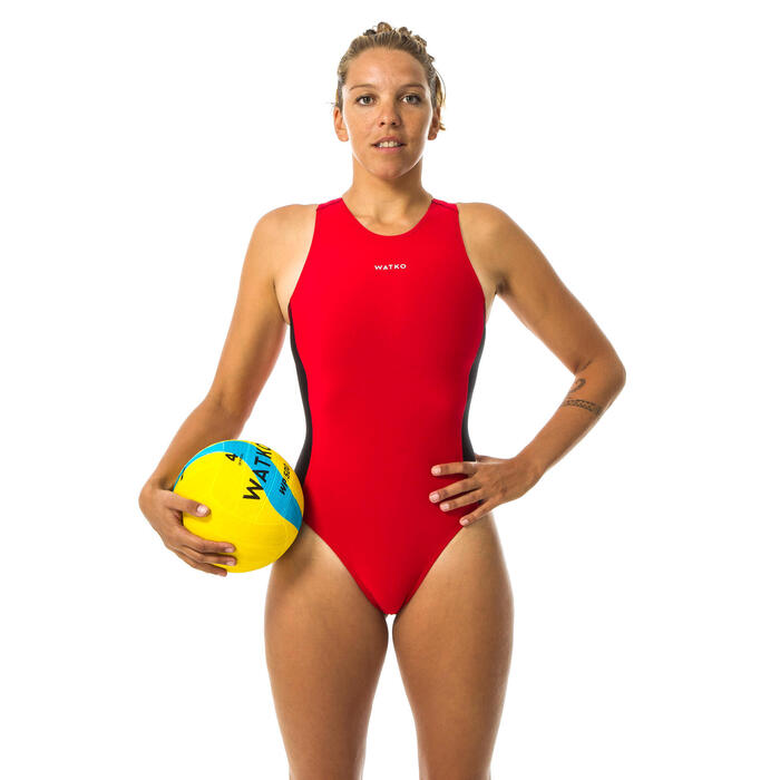MAILLOT BAIN 1 PIÈCE WATER POLO FEMME UNI ROUGE