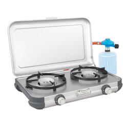 Réchaud camping 2 feux Kitchen Kit CV, avec son tuyau et son détendeur