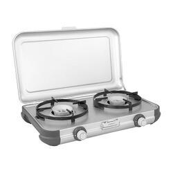 Fornello campeggio 2 fuochi Kitchen Kit CV, con tubo ed erogatore