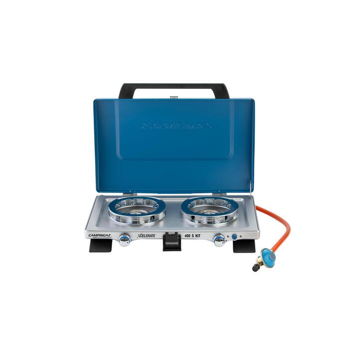 Campingkocher 2-flammig 400S Set Xcelerate mit Druckminderer und Schlauch