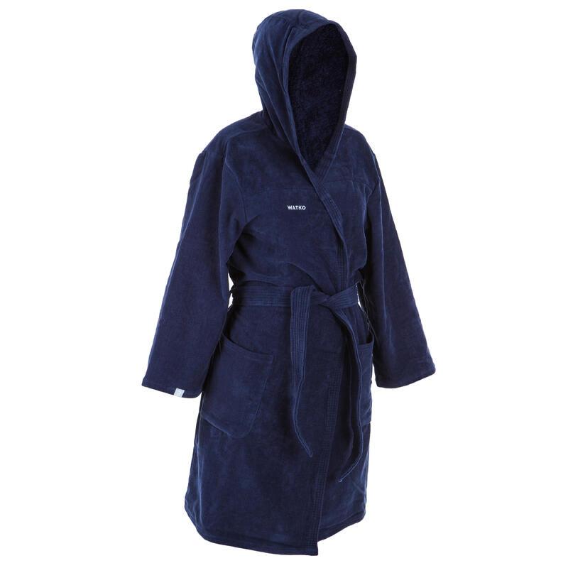 Badjas waterpolo voor dames dik katoen donkerblauw