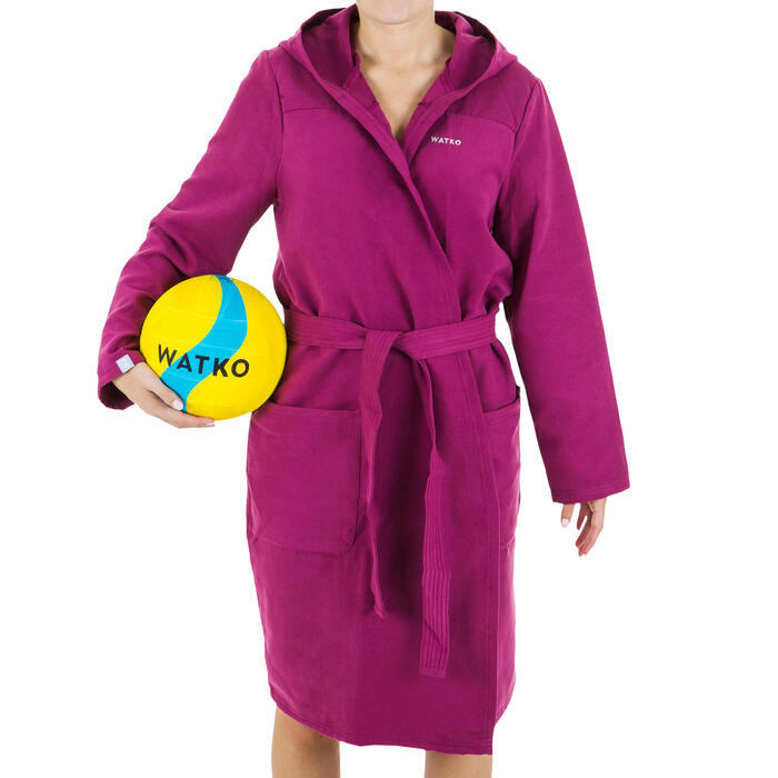 Women's Compact Microfibre Pool Bathrobe - Purple