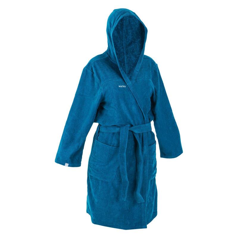 Badjas voor waterpolo dames dik katoen pauwblauw