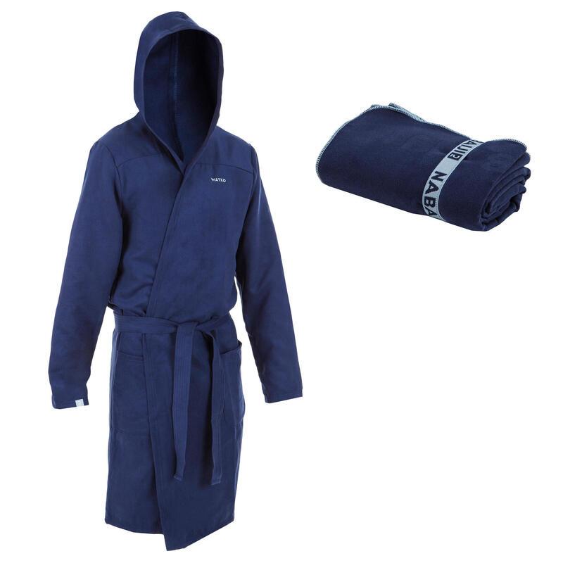 Pack Albornoz + Toalla L 80 x 130cm Hombre Azul Marino Microfibra Compacta