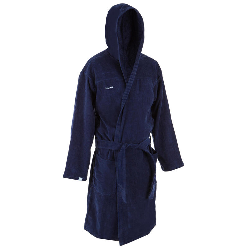 Badjas voor waterpolo heren dik katoen donkerblauw
