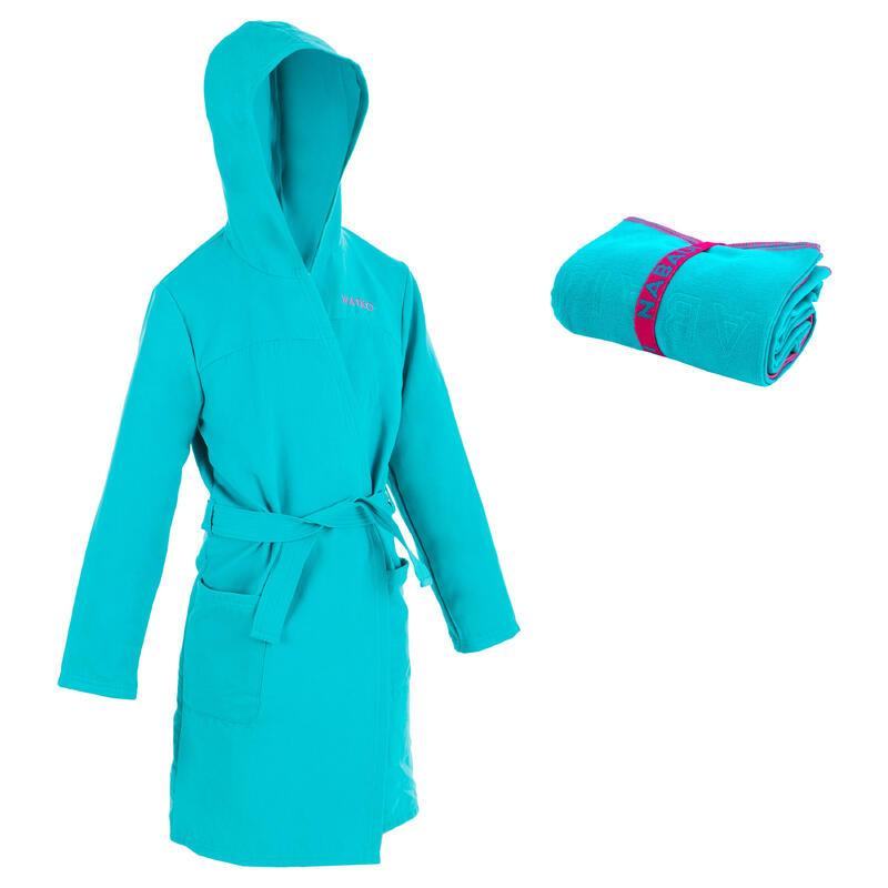 Compacte set met badjas en handdoek kinderen microvezel L 80x130 cm turquoise