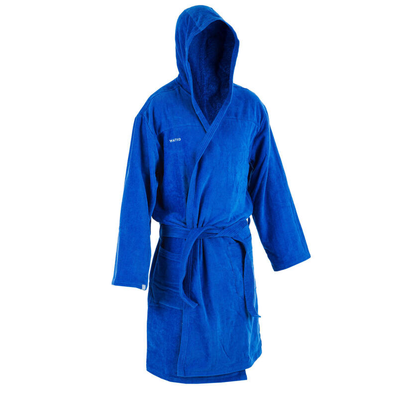Badjas voor waterpolo heren dik katoen lichtblauw