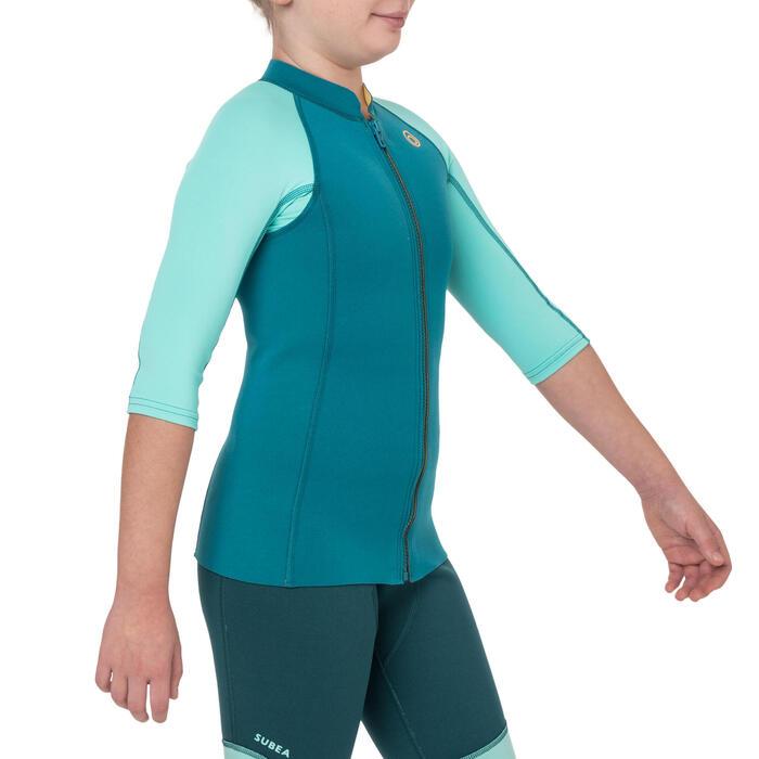 Top néoprène 500 manches courtes Junior turquoise