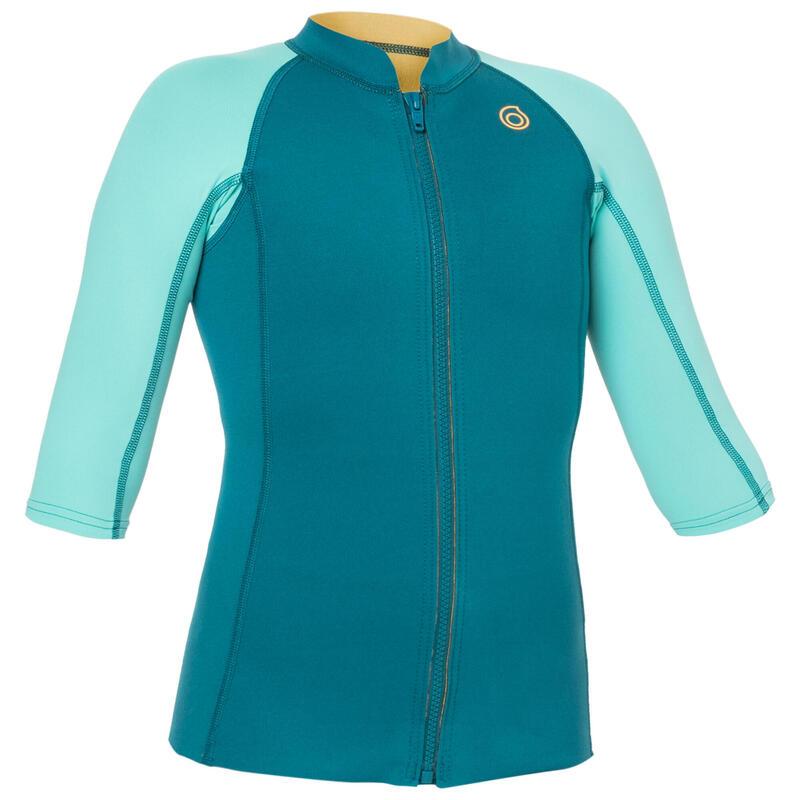 Kids' Short-Sleeve Neoprene Top 500 - Turquoise