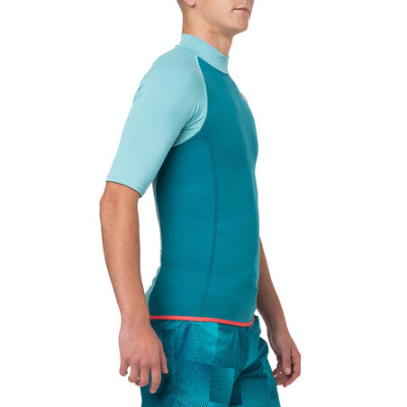 Men's Short Sleeve Neoprene Thermal Top 100 Turquoise