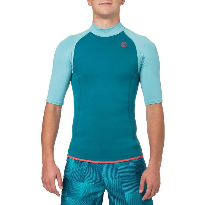 Top néoprène 100 manches courtes homme turquoise