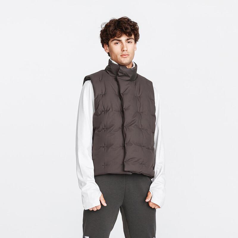 Men's Running Sleeveless Padded Jacket Warm+ - dark khaki