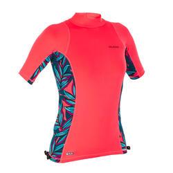 UV-Shirt Surfen Top 500S kurzarm Damen koralle und waku diva
