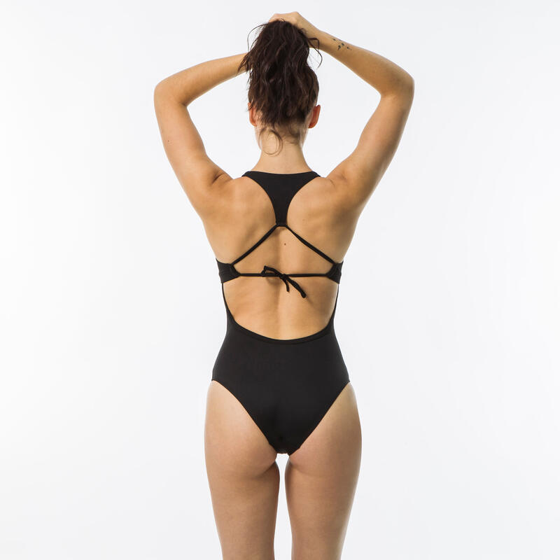 Women's surfing one-piece swimsuit with double back adjustment AGATHA - BLACK