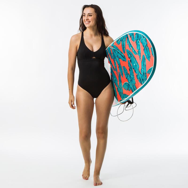 Maillot de bain de surf 1 pièce AGATHA NOIR avec double réglage dos