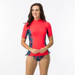 tee shirt anti uv surf top 500 manches courtes femme corail et waku diva