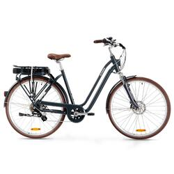Bici città elettrica a pedalata assistita ELOPS 900E telaio basso blu