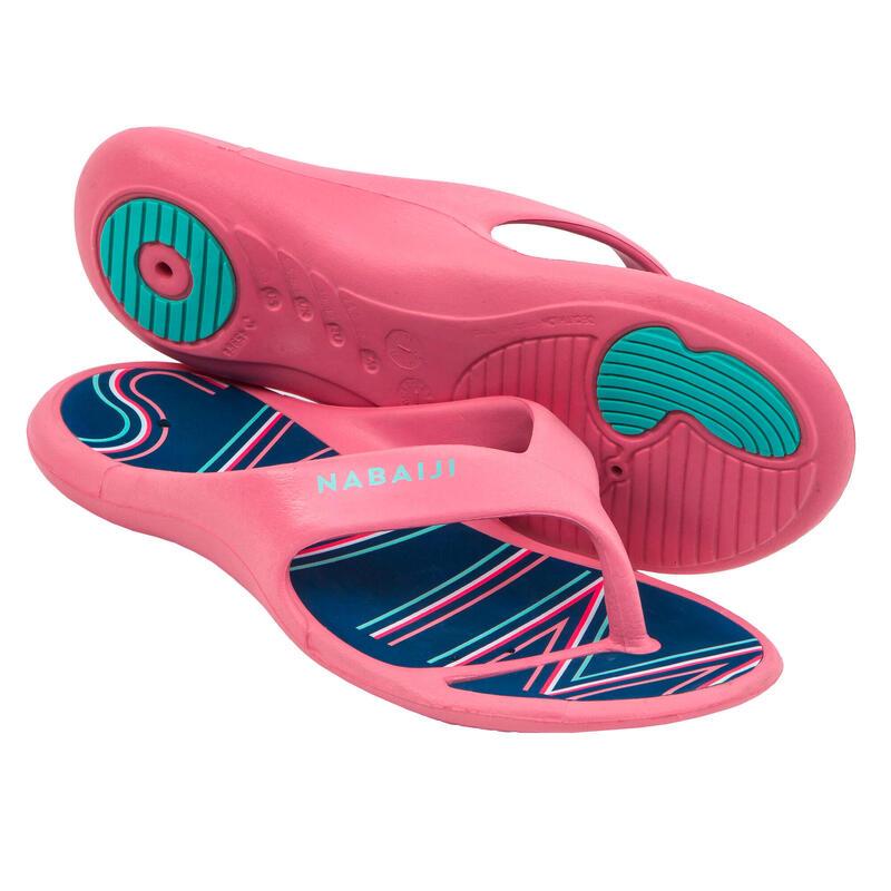 Chanclas Piscina Tonga 500 Print Swim Mujer Rosa