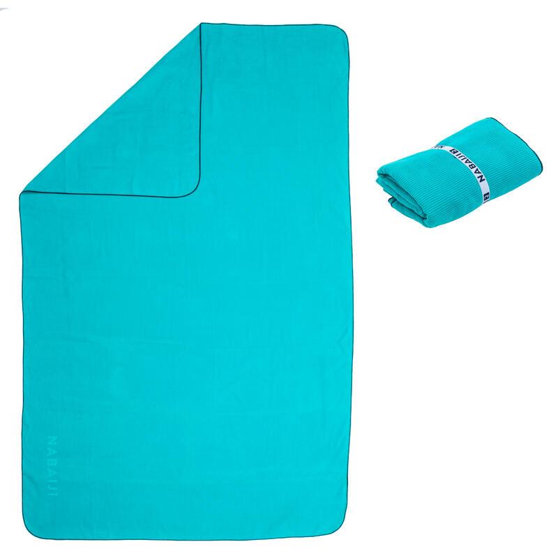 Serviette de bain microfibre à rayures bleu taille L 80 x 130 cm