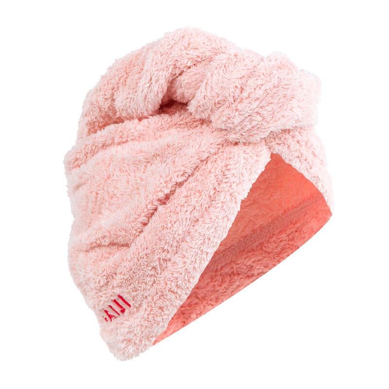 Ručník z mikrovlákna na osušení vlasů světle růžový