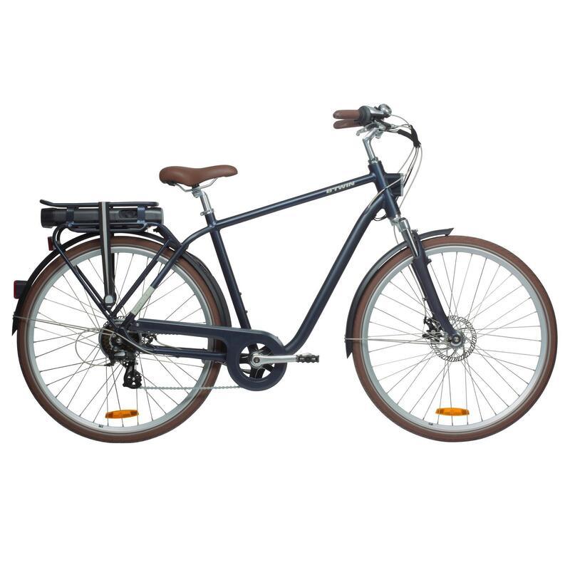 High Frame Electric City Bike Elops 900 - Navy Blue