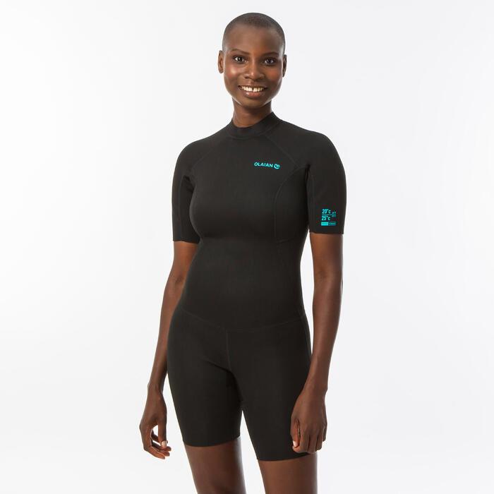 Shorty surf femme néoprène avec mousse de 1,5mm back zip noir
