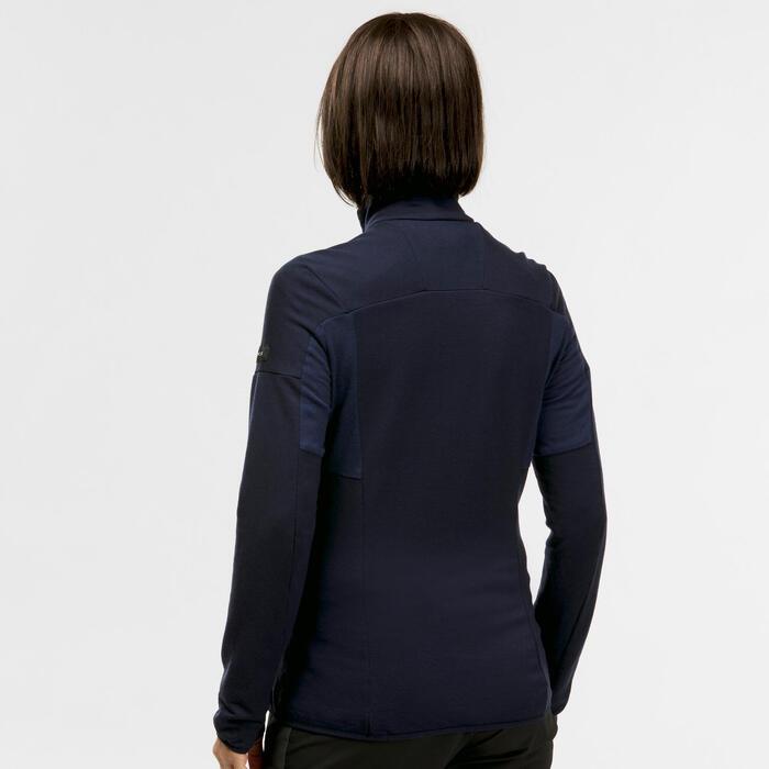 Sous-veste mérinos de trek montagne - Trek 900 noir - Femme