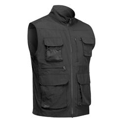 Gilet multipoches de trek voyage - TRAVEL 100 gris homme