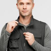 Men's Multi-pocket Travel Trekking Gilet - TRAVEL 100 - Grey