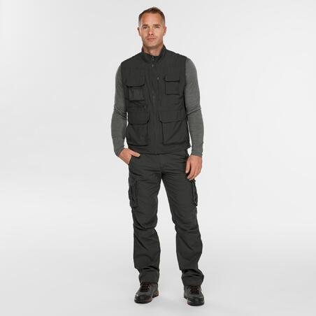 Chaleco con múltiples bolsillos de trekking viaje - TRAVEL 100 gris hombre