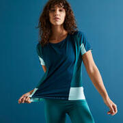 Women Loose Polyester Fitness T-Shirt - Color Block