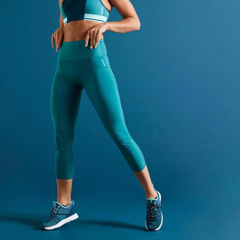 Korte fitnesslegging met hoge taille afslankend paars