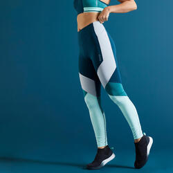 Leggings FTI 520T hohe Taille Fitness figurformend Color Block