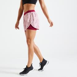 女款有氧健身訓練短褲900 - 粉色印花