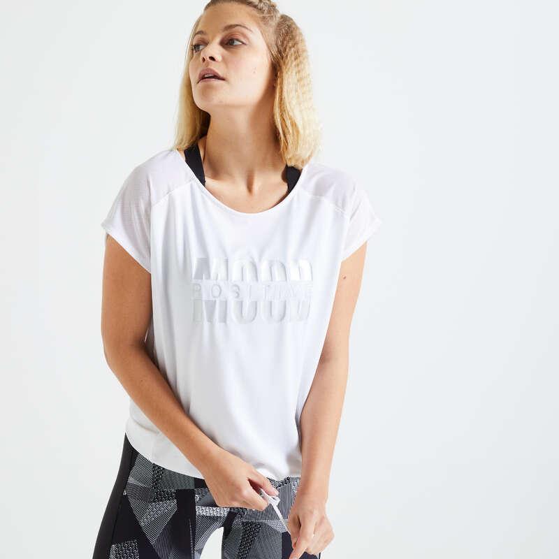 ŽENSKA ODJEĆA ZA KARDIOFITNES ZA POČETNICE Odjeća za žene - Majica FTS 120 ženska bijela DOMYOS - Ženske majice kratkih rukava