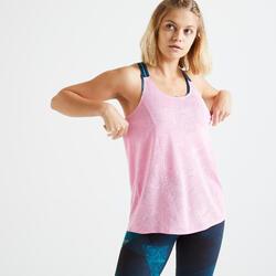 女款心肺訓練無袖背心500-粉紅色