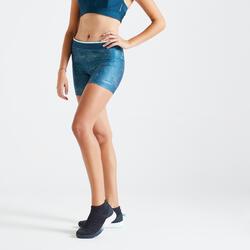 Calções de Cardio Training Mulher 100 Estampado Azul