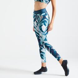 女款有氧健身訓練緊身褲500 - 葉子印花